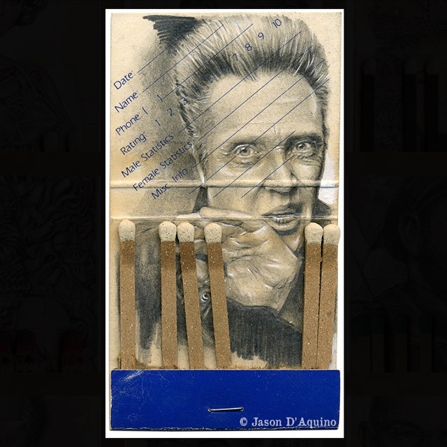 02-Christopher-Walken-Jason-D-Aquino-Miniature-Vintage-Match-Book-Drawings-www-designstack-co