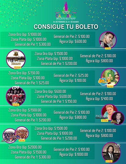 artistas carnaval metropolitano guadalajara 2017