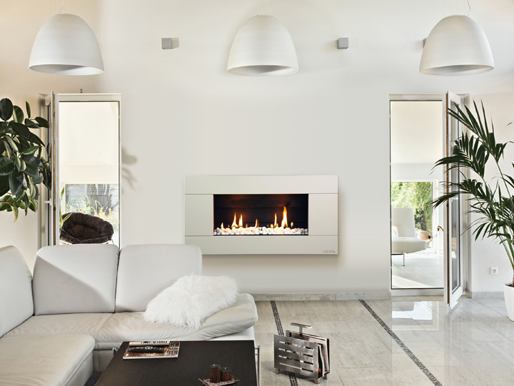 white gas fireplace