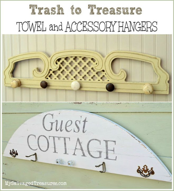 Towel and accessory hangers made from salvaged junk. From MySalvagedTreasures.com