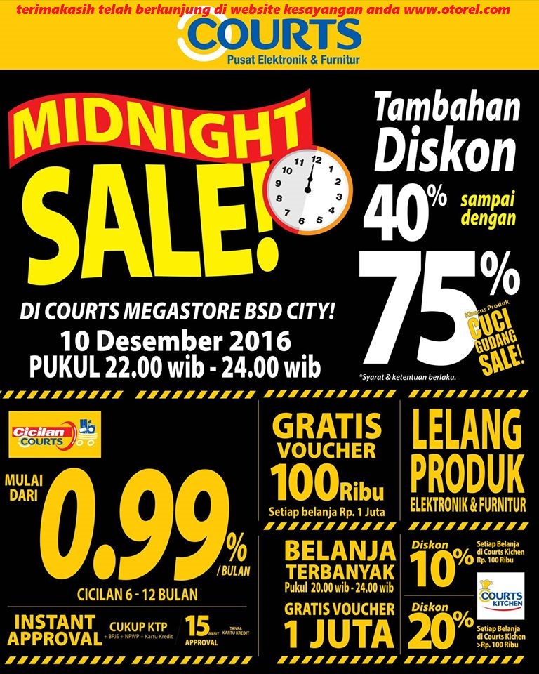 COURTS MEGASTORE Midnight Sale Periode 10 Desember 2016