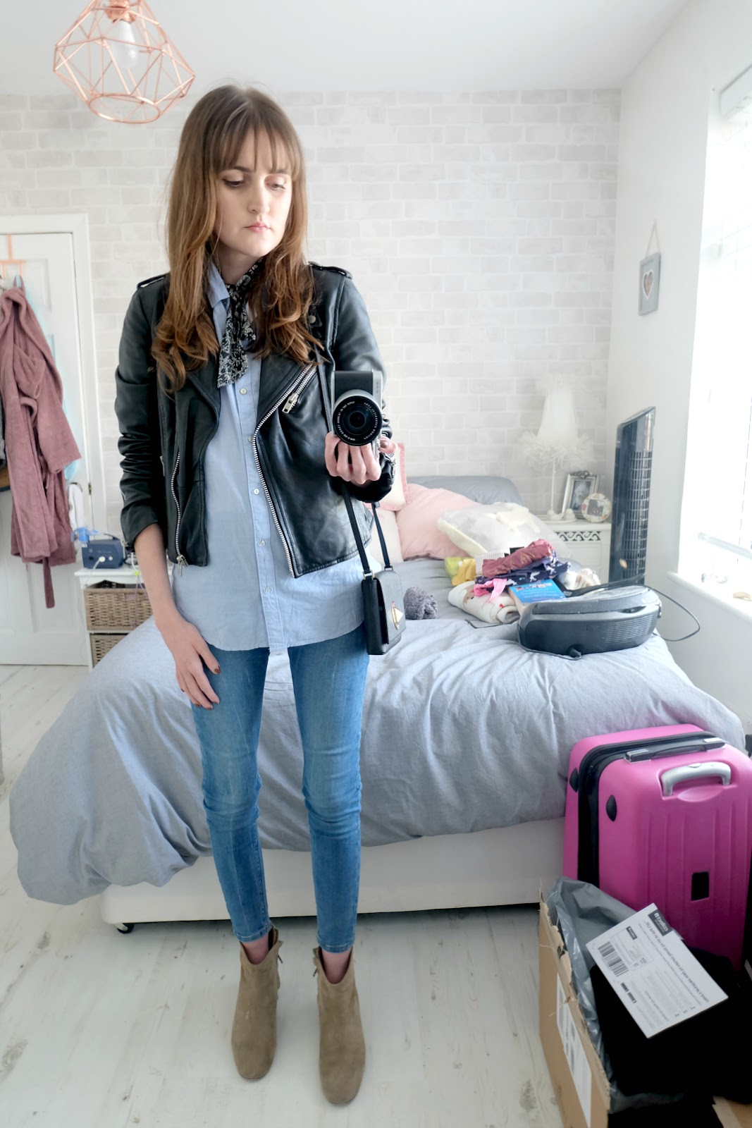 zara leather jacket, isabel marant dicker boots, dicker boots outfit, kate spade sally bag