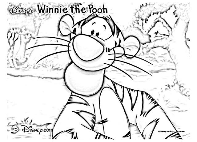 gambar mewarnai harimau tiger teman winnie the pooh