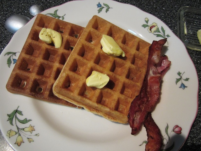 Food Lust People Love: Traditional homemade buttermilk waffles make a great breakfast for dinner option! Glass of wine optional. But recommended.