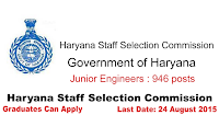 Haryana Staff Selection Commission Recruitment for Junior Engineers 2015