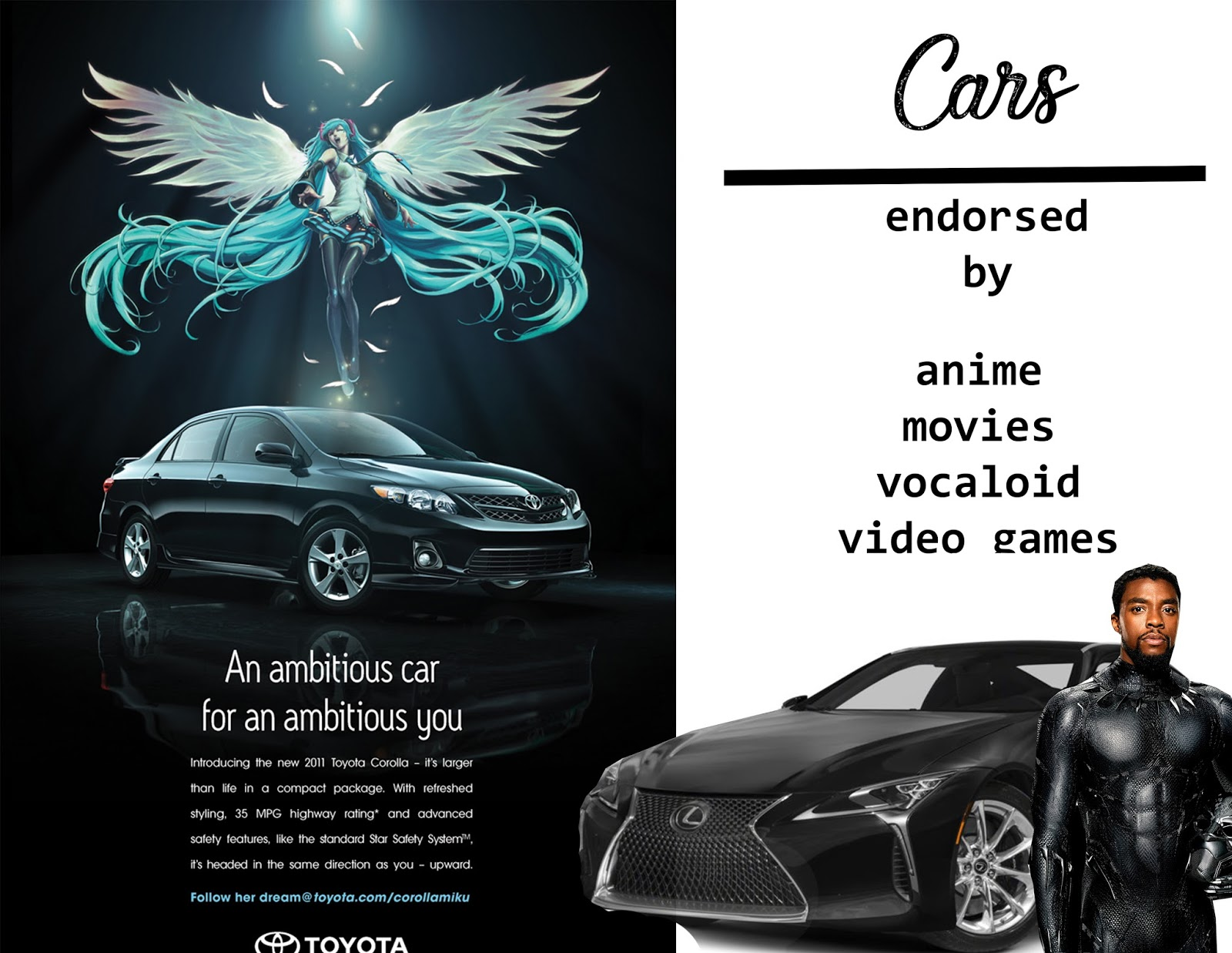 Cars endorsed by anime, video games, vocaloid and superhero movies