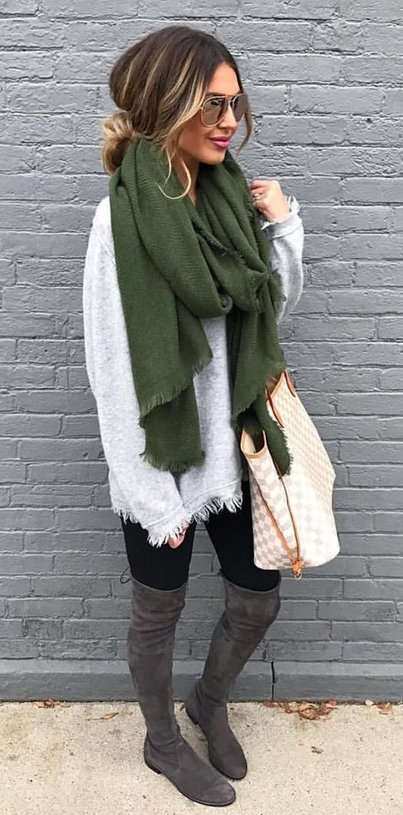 how to style a scarf : sweater + bag + black skinnies + over knee boots