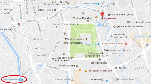 Peta Stasiun KRL Tanah Abang ke Masjid Istiqlal