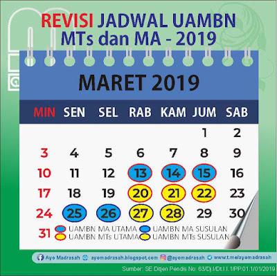 Revisi Jadwal UAMBN MTs dan MA 2019