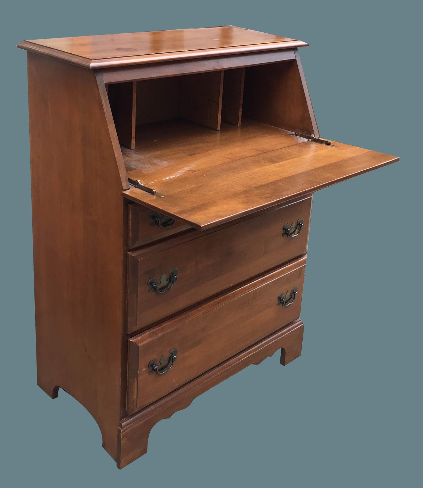 Vintage Medium Wood 3 Drawer Secretary Desk 125 Sold