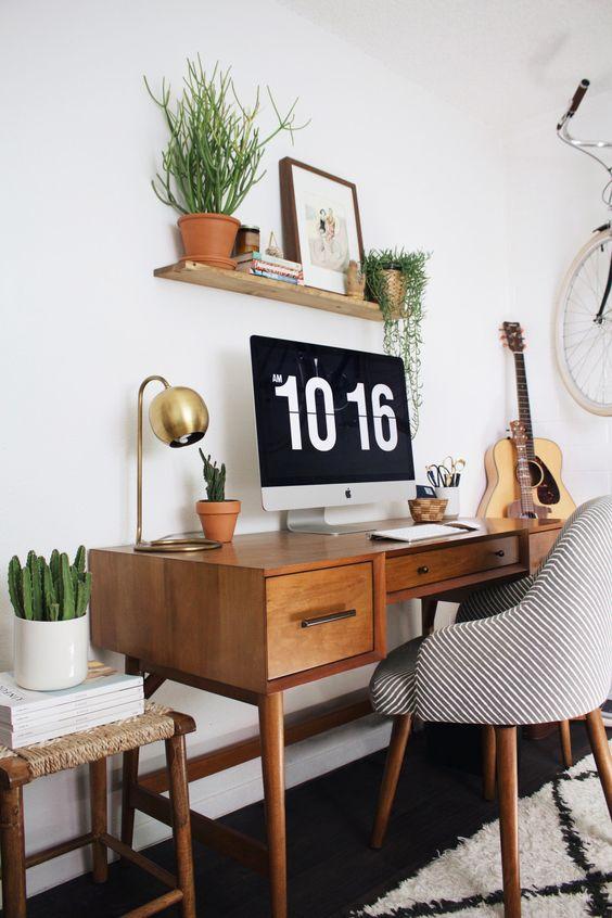 decoração de home office moderno no quarto