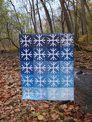 Ombre snowflake Snowfall quilt pattern by Slice of Pi Quilts