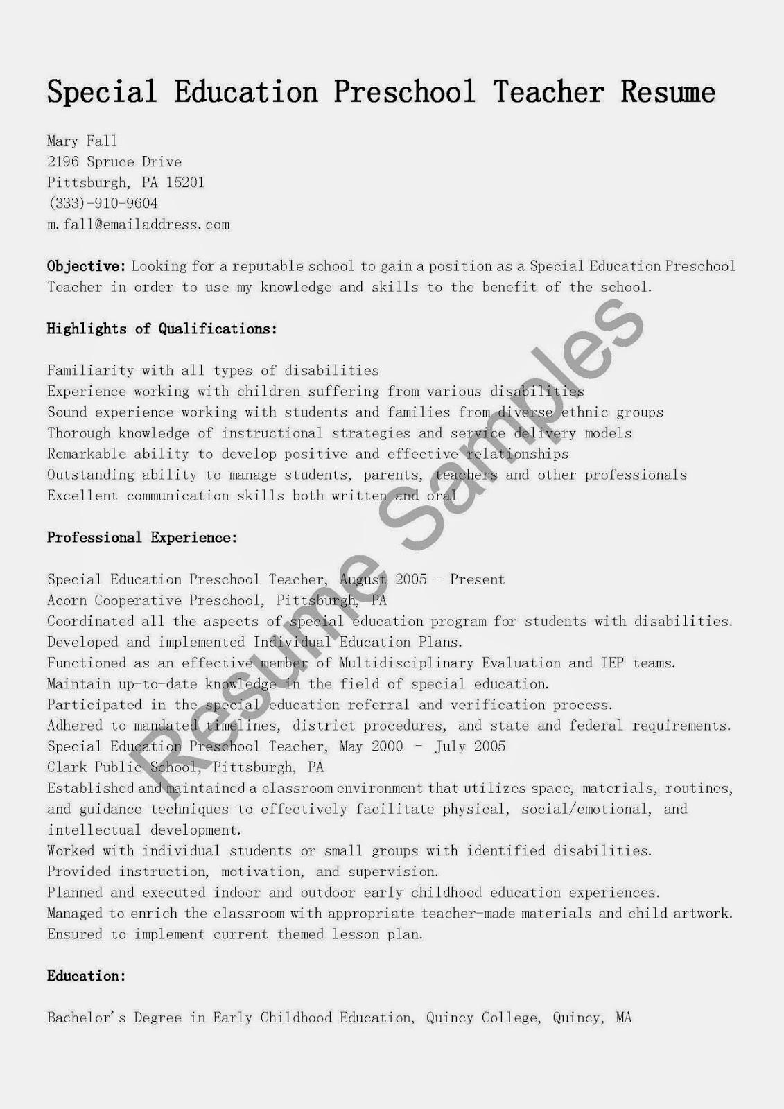 resume samples special education preschool teacher resume