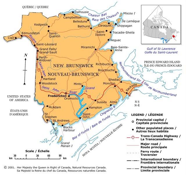 Map Of Canada Regional City In The Wolrd: New Brunswick