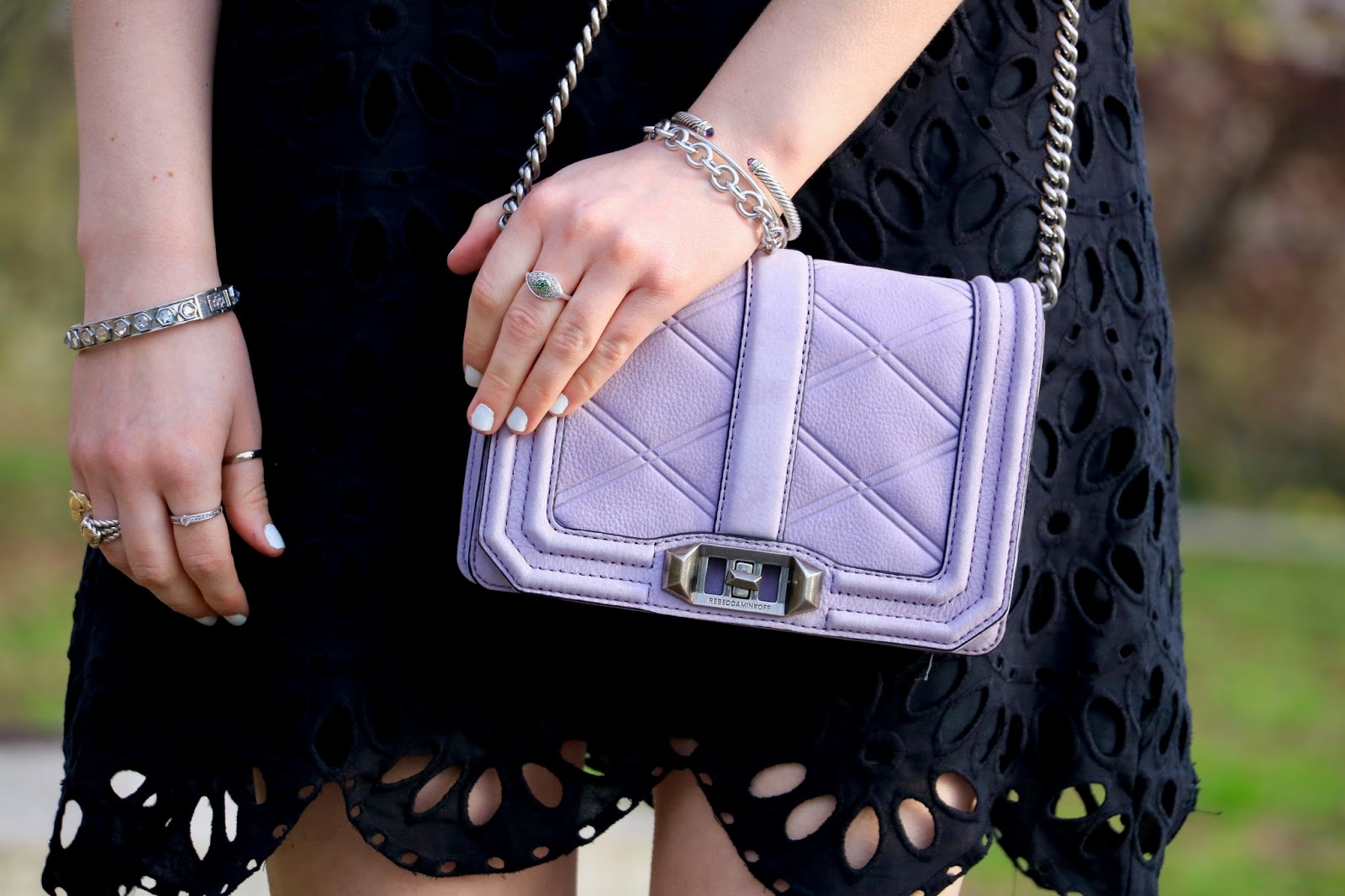Nyc fashion blogger Kathleen Harper's purple Rebecca Minkoff purse