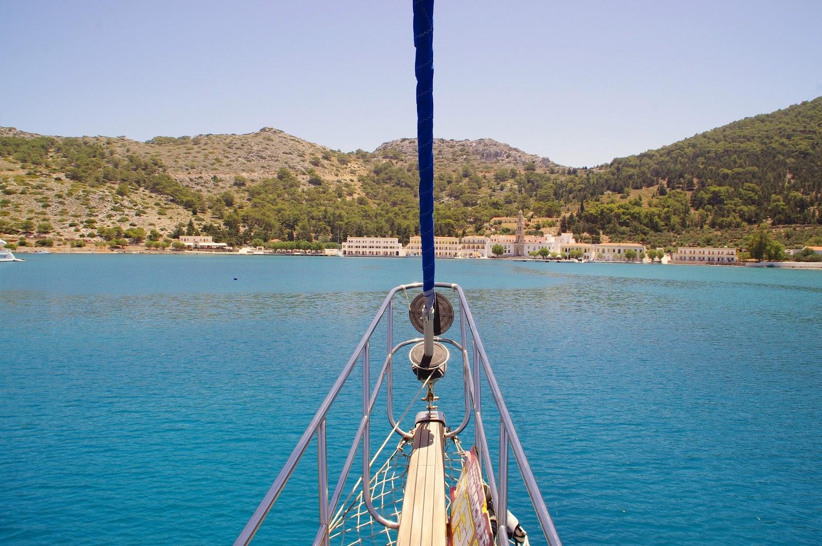 Sailing into Simi Island Greece