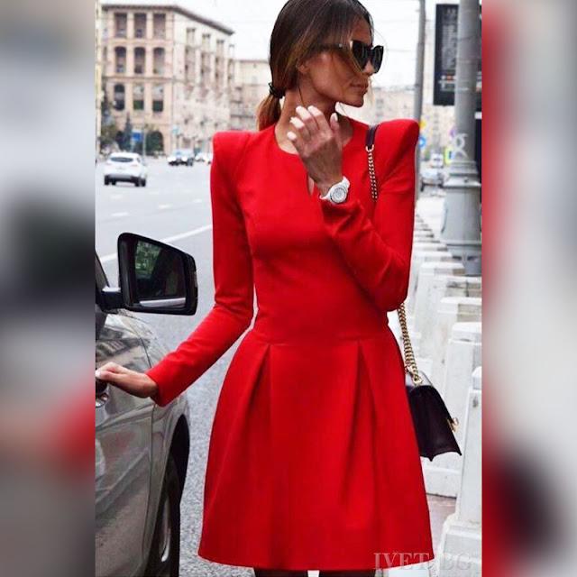 Μακρυμάνικο κοντό κόκκινο φόρεμα BLUENA RED