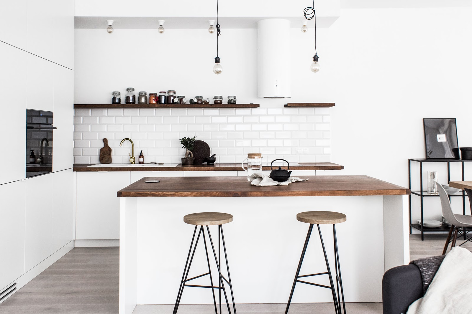 scandinavian apartment, black and white interior kitchen,
