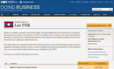 Screenshot of World Bank's Doing Business website - showing steps of how to start a business in Laos