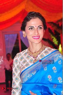 Actress Model Shilpa Reddy Exclusive Stills in Blue Saree at Vijay Karan Aashna Wedding  0019.JPG