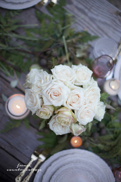 roses and greens tablesetting