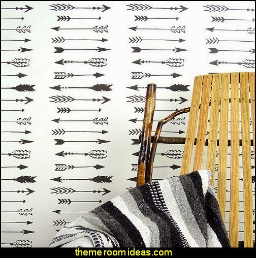 Indian Arrows Allover Wall Pattern Stencil - DIY Wall Decor - DIY Wallpaper Alternative