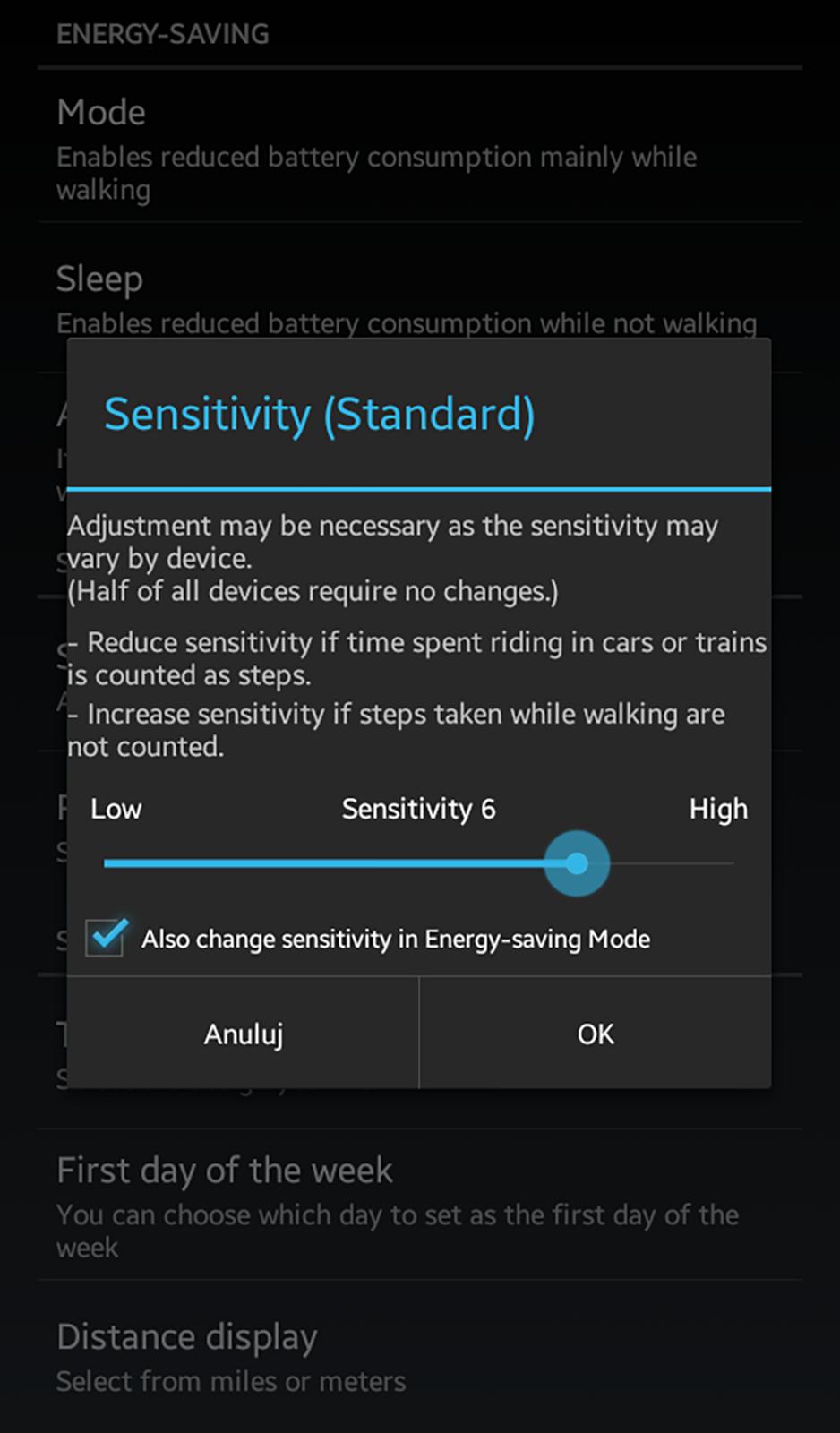 ustawienia aplikacji krokomierz na androida
