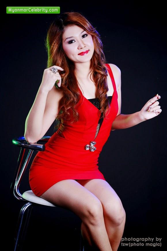 Model May Moe Z in Red Hot Mini Dress