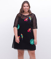 Moda Vestido em Tela com Patches Curve Plus Size