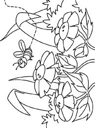 Bee At Flower Garden Coloring Sheet