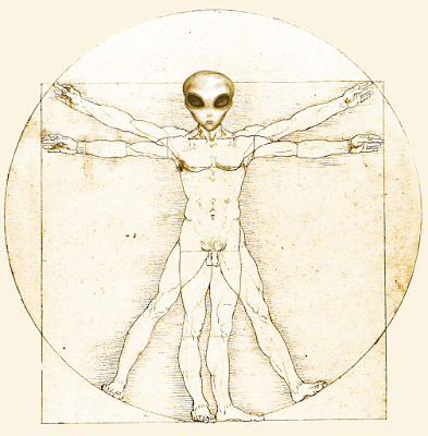 This image features the head of an extra-terrestrial lifeform superimposed on 'Vitruvian Man', a drawing by Leonardo da Vinci (1452–1519)