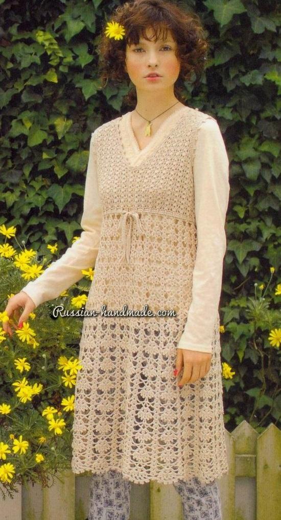 Платье без рукавов крючком ажурным узором