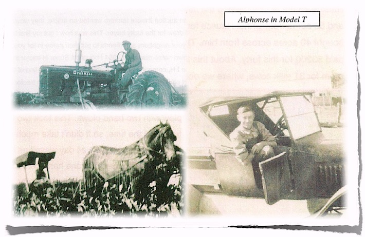 grandpa sitting in model t car in the 1930s, grandpa on old tractor, and grandpa plowing field with horses