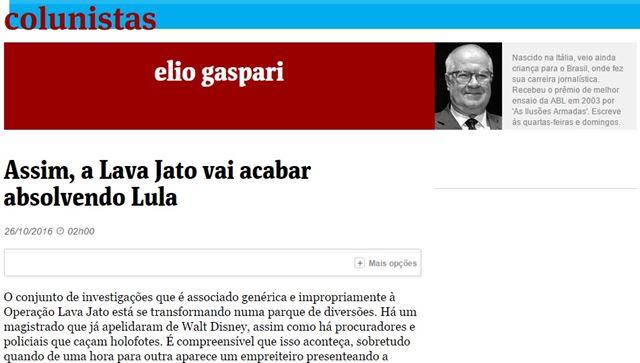 Elio Gaspari publicou hoje na Folha de São Paulo