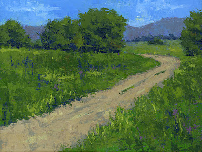 art painting landscape countryside rural palette knife green