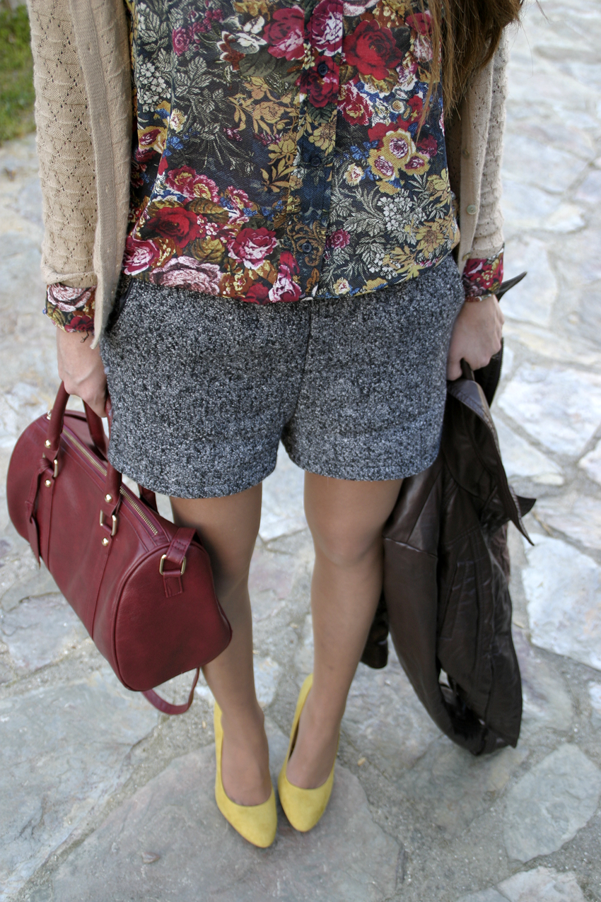 Wearing Autumn Colors:Gray Shorts, Burgundy Bag with Yellow Pumps