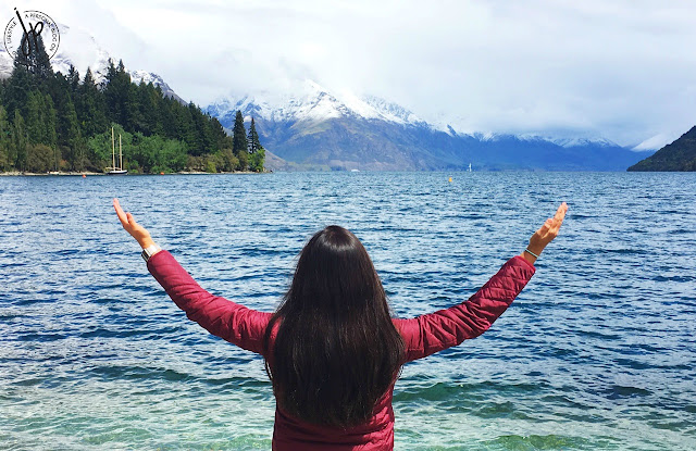 lake, snow capped mountains, girl