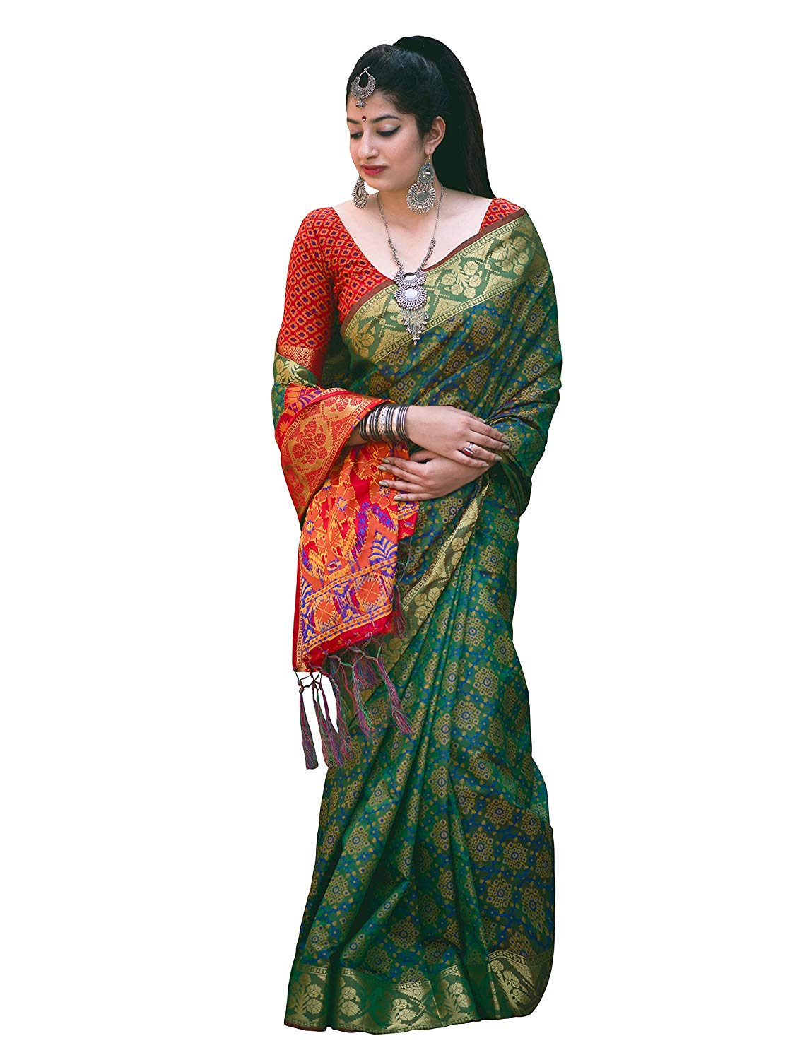 Applecreation Women'S Patola Silk Saree With Blouse Piece (4)