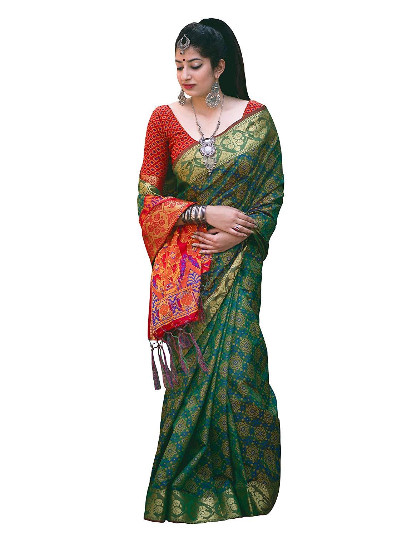 Applecreation Women'S Patola Silk Saree With Blouse Piece (4)