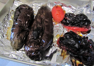 Broiled eggplants and red bell peppers