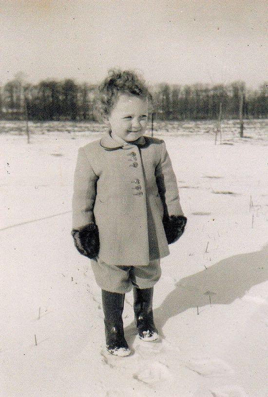 Photograph of me in the snow winter 1946 possibly before the path was laid Image courtesy of Judy Marchant