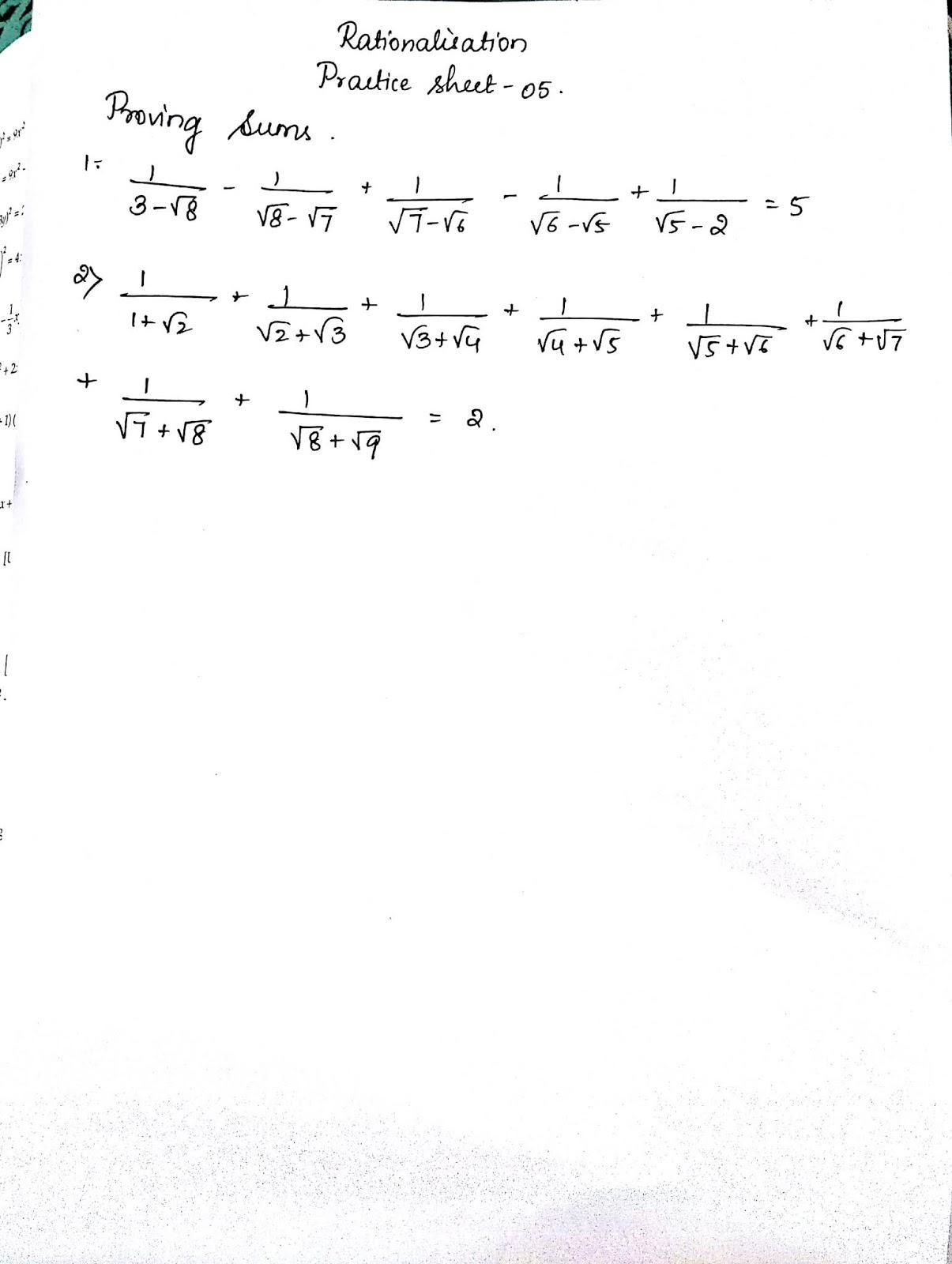 Cbse Icse Class 9 Rationalisation Practice Sheets