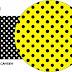 Amarillo con Lunares Negros: Imprimibles Gratis para Fiestas.