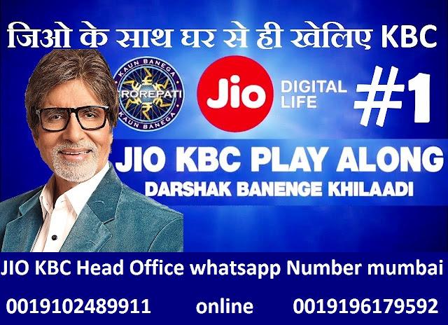 KBC Main Head Office Whatsapp Number Mumbai 0019102489911