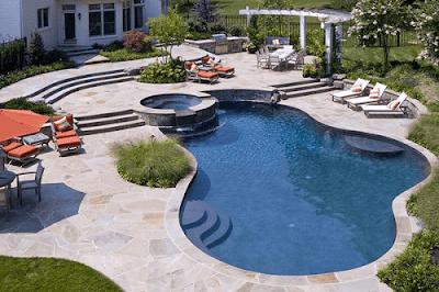 aksesoris pada kolam renang minimalis
