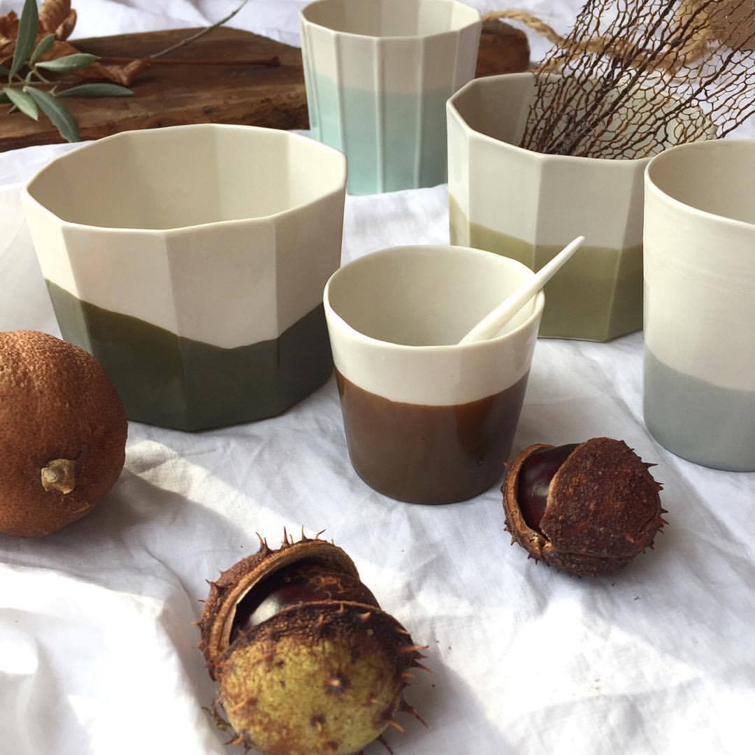 colours in ENW ceramics. green/brown cups. ilariafatone.com