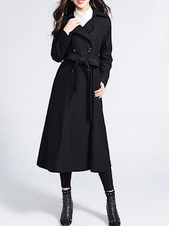 Lapel Plain Work Long Sleeve Pockets Coat