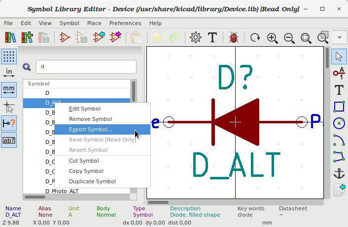 Exportarea simbolului pentru diodă într-o bibliotecă nouă