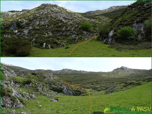 Ruta al Pierzu desde Priesca: Subiendo ladera arriba