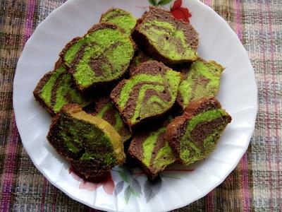 Kek Mentega Pandan Coklat